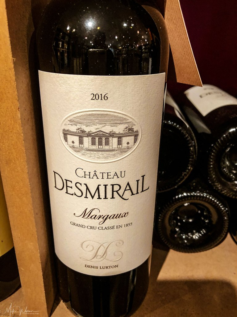 A bottle of Chateau Desmirail
