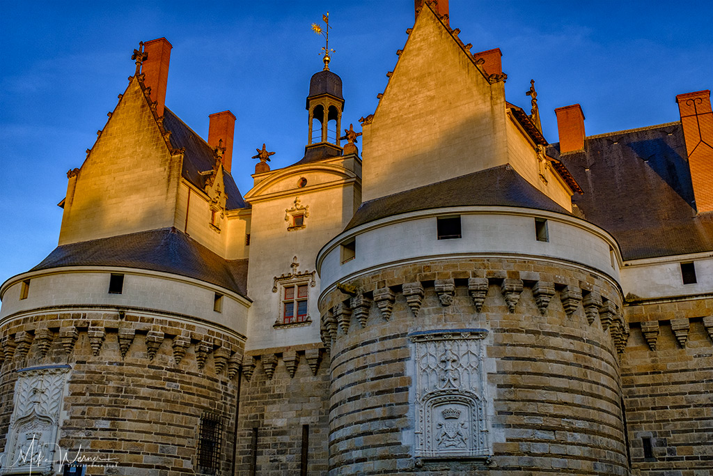 Top part of the entrance towers of the Duke's castle in Nantes