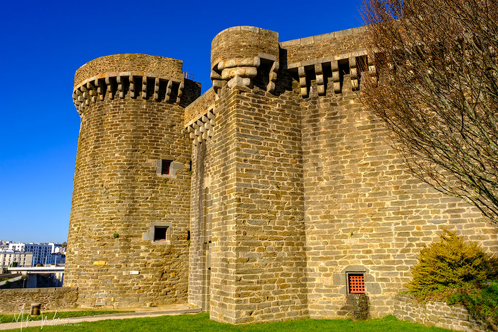Large buildings inside the Brest Castle/Fortress in Brittany