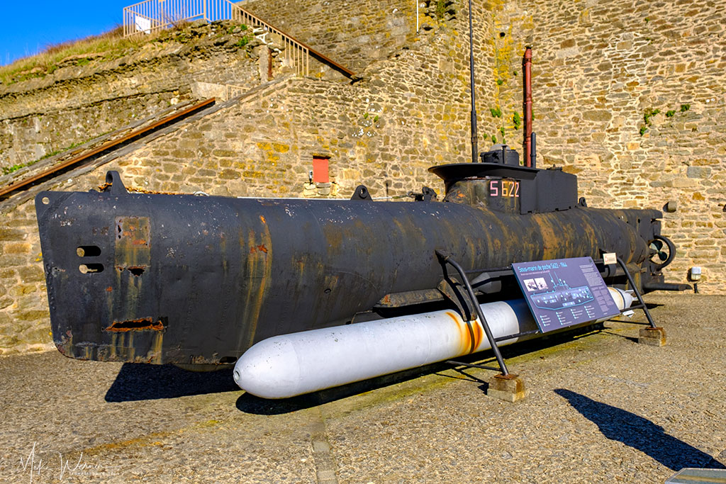 German WWII midget submarine (Seehund) as seen at the French Navy National Museum in the Brest Castle in Brittany