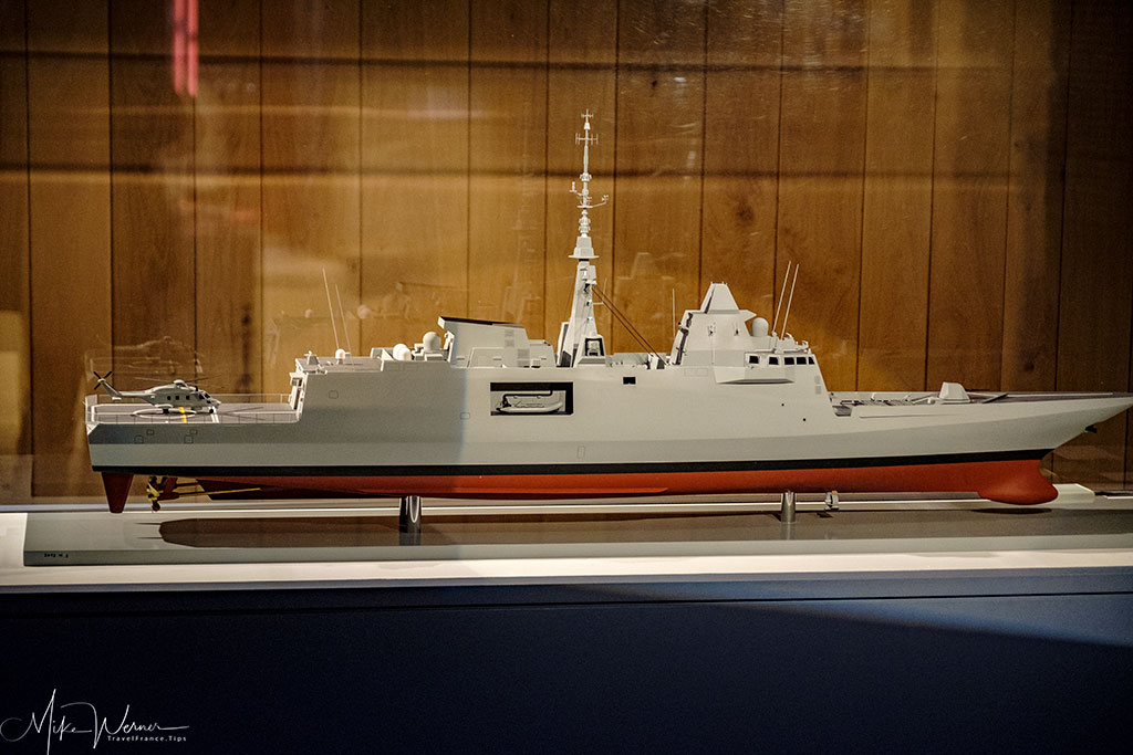 Modern French warship scale model as shown in the French Navy National Museum inside the Brest Castle