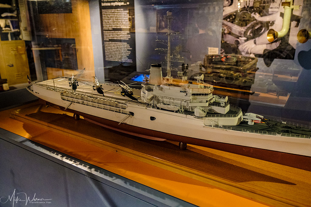French helicopter carrier warship scale model as shown in the French Navy National Museum inside the Brest Castle