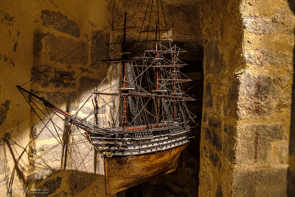 Old three mast sail warship scale model as shown in the French Navy National Museum inside the Brest Castle
