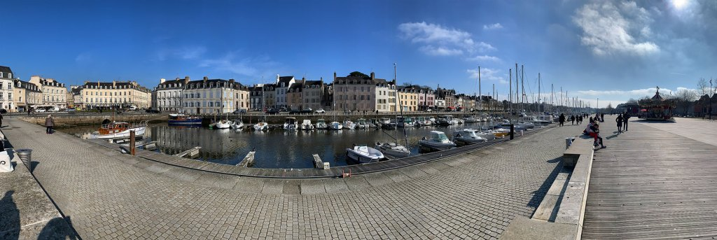 Panoramic photo of the pleasure boats marina in Vannes, Brittany