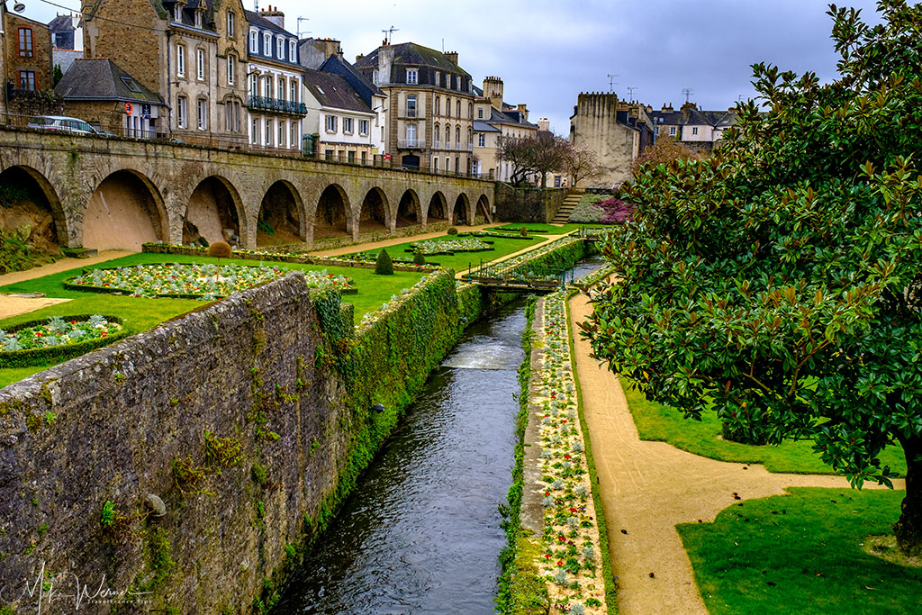 Little river running through the gardens of the Vannes ramparts in Brittany