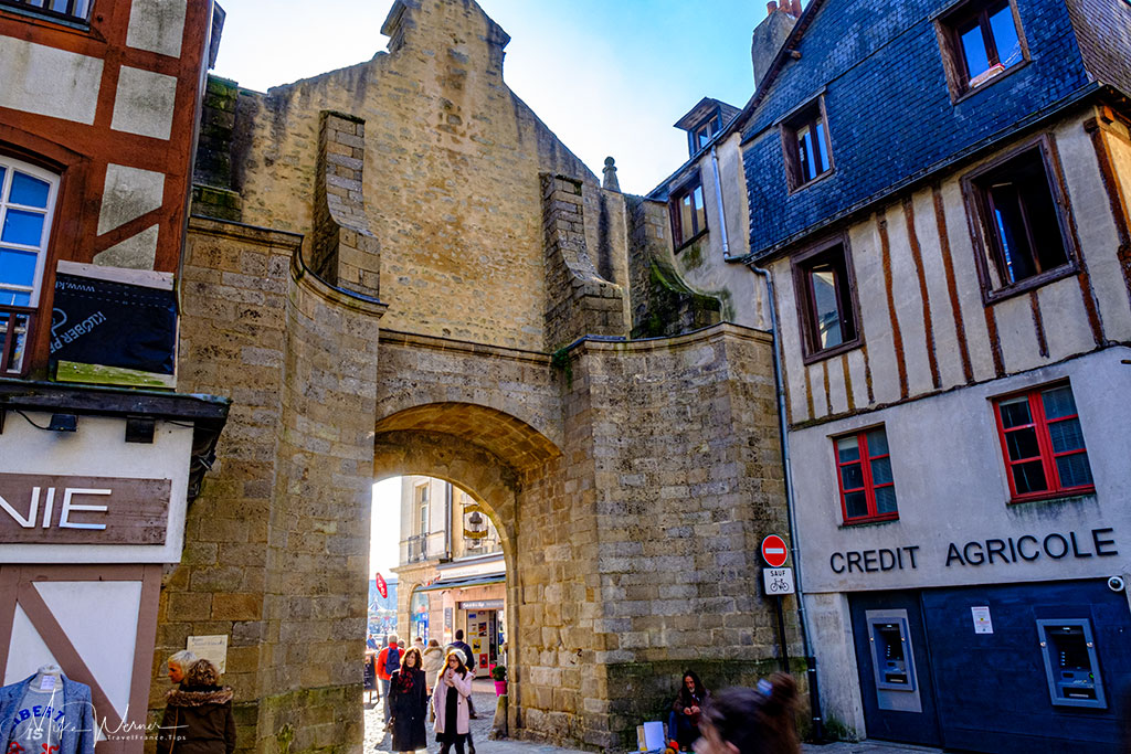 City side of the Saint-Vincent Gate alongside the ramparts of Vannes, the main gate into the harbour