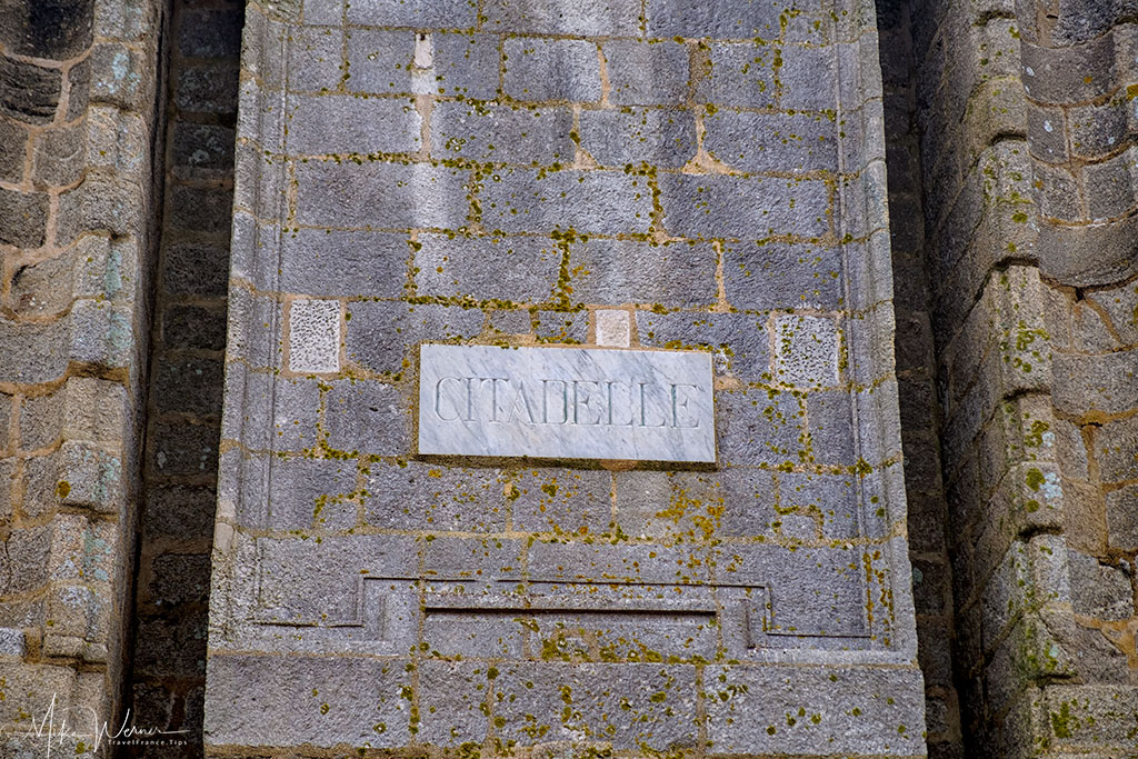 Citadel marking on the Port-Louis fortress in Brittany