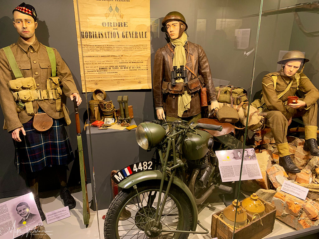 English and Scottish soldiers and their uniforms and equipment at the WWII German bunker at the 39-45 Memories Museum at Pointe Saint-Mathieu in Brittany