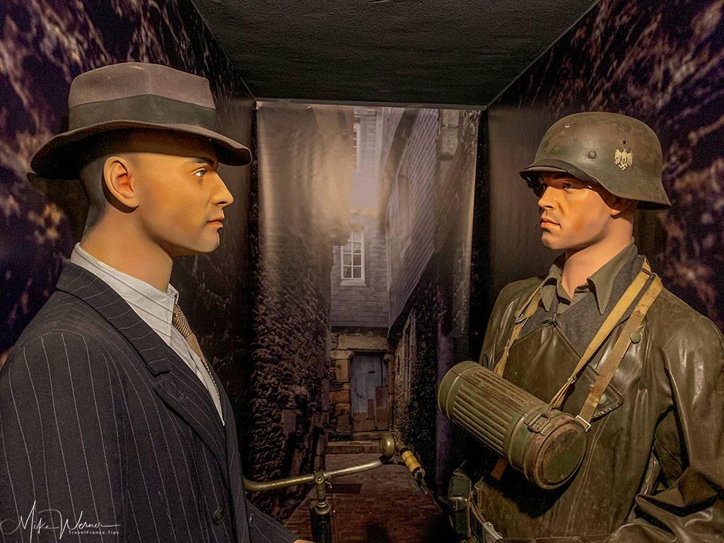 German soldier and French civilian at the WWII German bunker at the 39-45 Memories Museum at Pointe Saint-Mathieu in Brittany