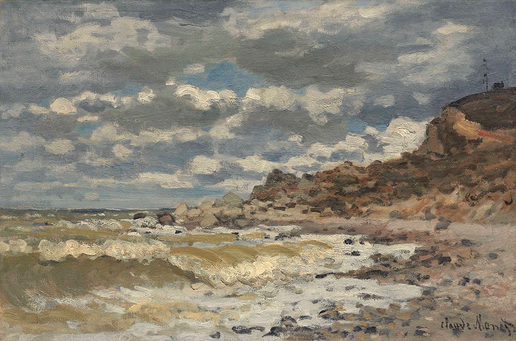 1868 Claude Monet-Along the Beach at Sainte-Adresse