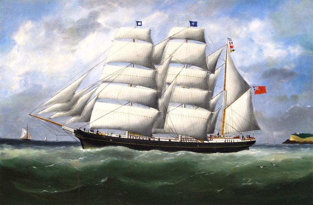 1881 Edouard Adam - The Barque Ifafa under Full Sail Leaving Le Havre