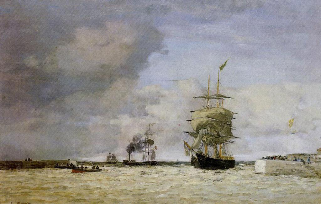 1864 Eugene Boudin - Entrance to the Port