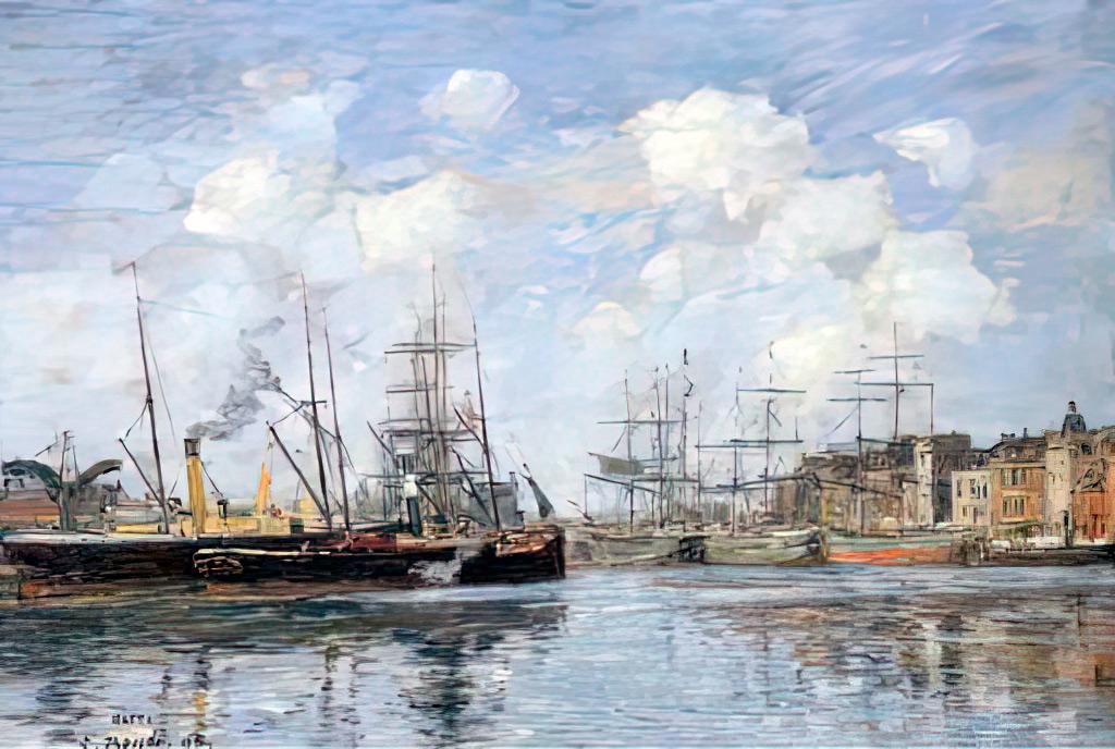 1895 Eugene Louis Boudin - Le Havre. The Bassin de la Barre