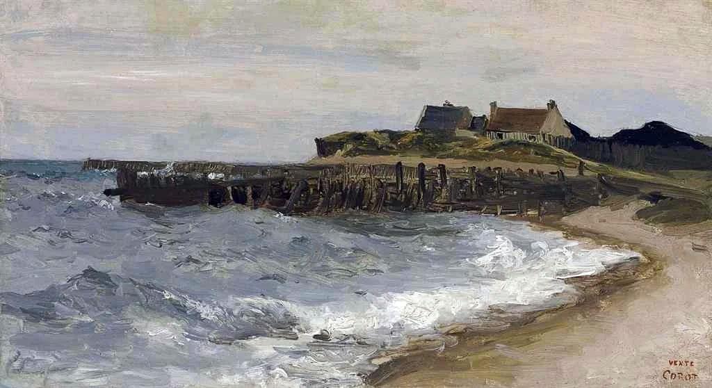1829 Jean-Baptiste Corot - Heavy sea at Sainte-Adresse