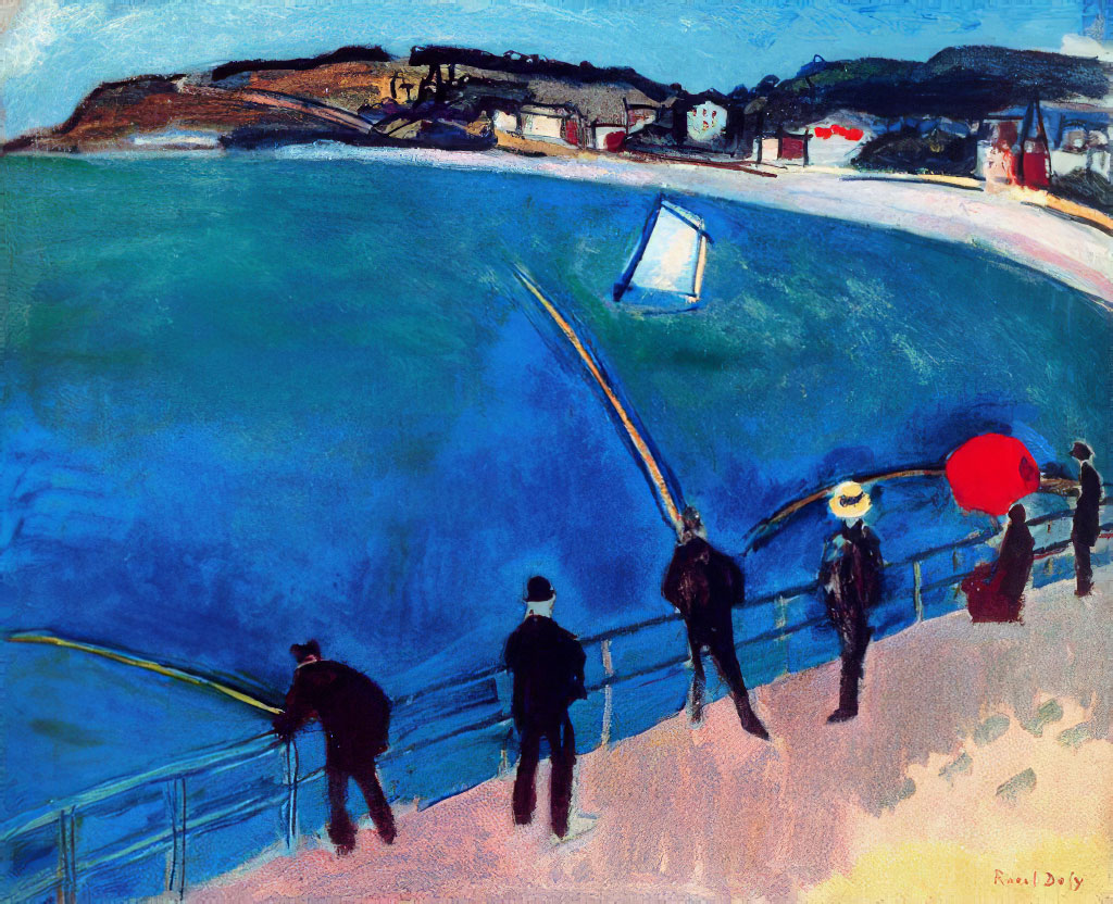 1907 Raoul Dufy -  Fishermen with Red Umbrella at Sainte-Adresse