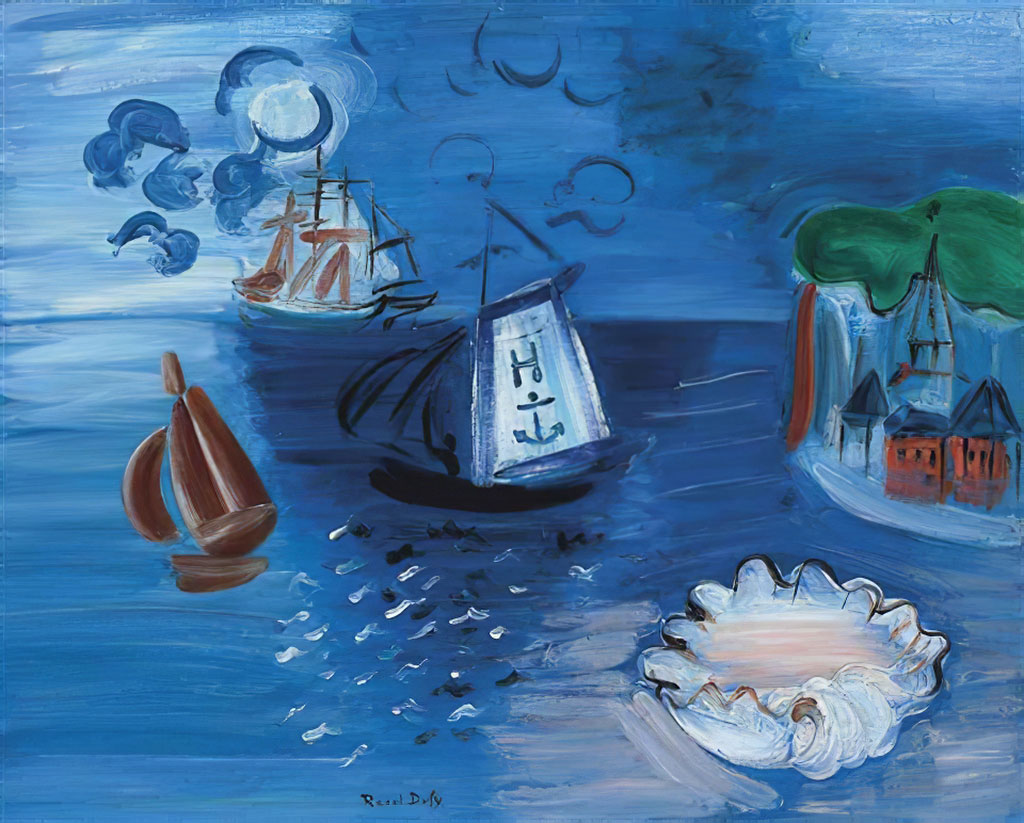 1938 Raoul Dufy - Composition, Boats, Shell on the Bay of Sainte Adresse