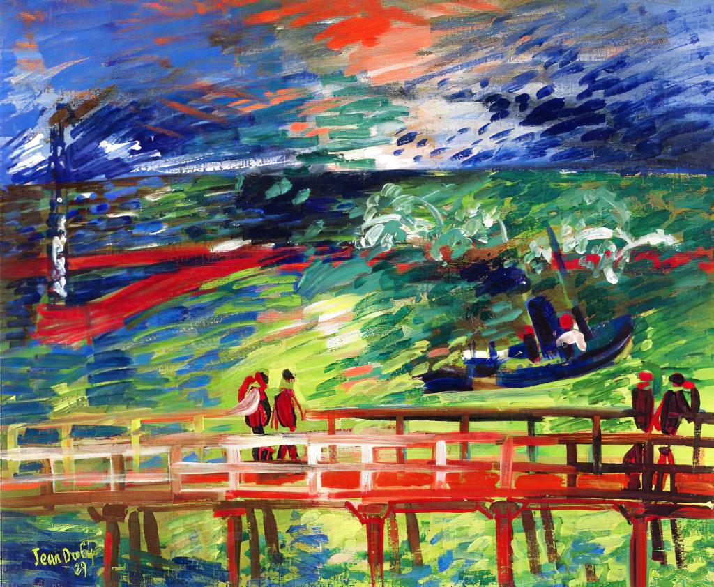 1929 Jean Dufy - The Pier on the Quai de Southampton in Le Havre