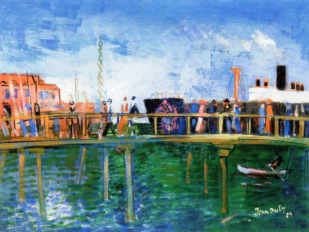 1929 Jean Dufy - The Pier on the Quai de Southampton in Le Havre