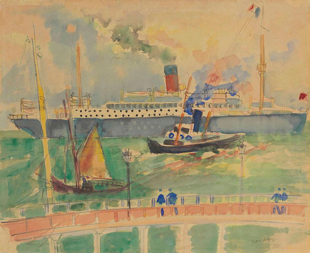 1929 Jean Dufy - Ocean Liner Leaving the Port of Le Havre
