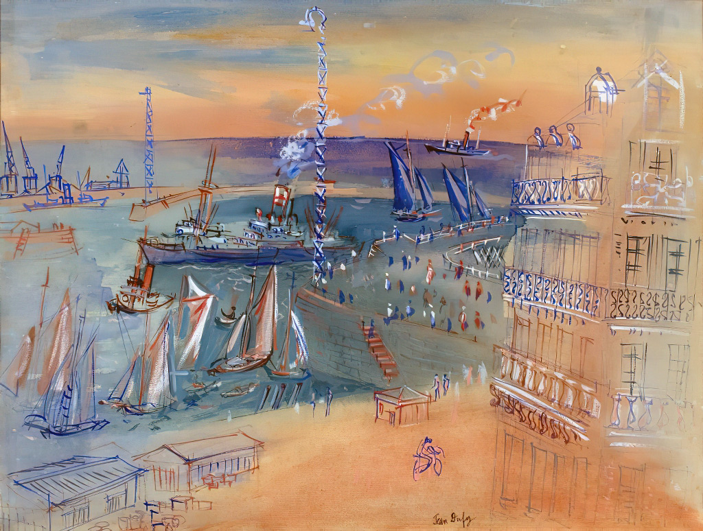 1940 Jean Dufy - Le Havre, corner of the Chausee John Kennedy and Boulevard Francois Ier