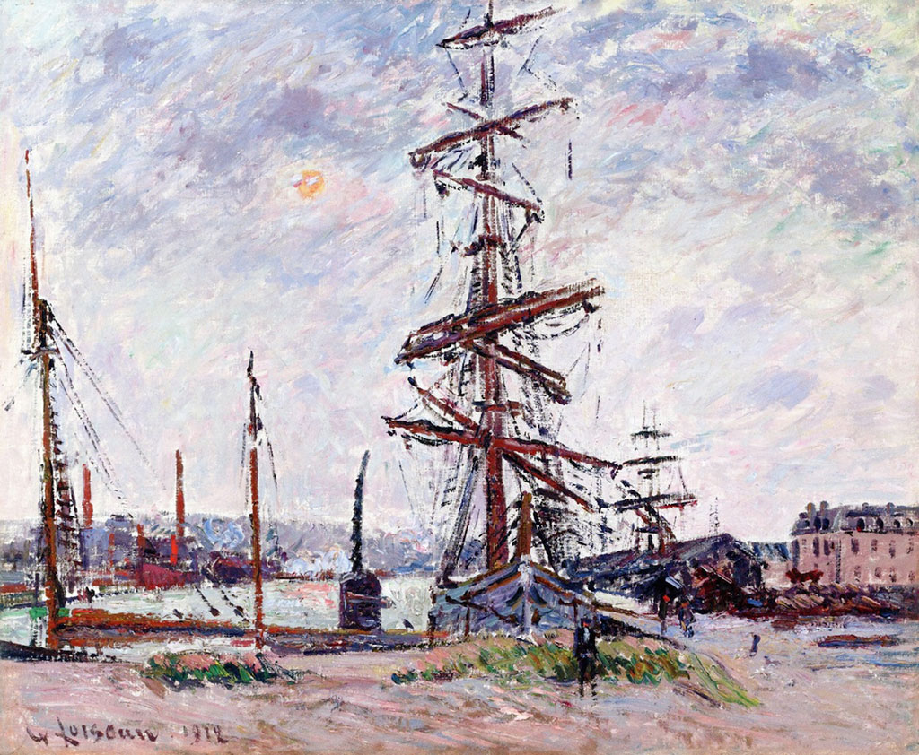 1912 Gustave Loiseau - Boats at Dock in Le Havre