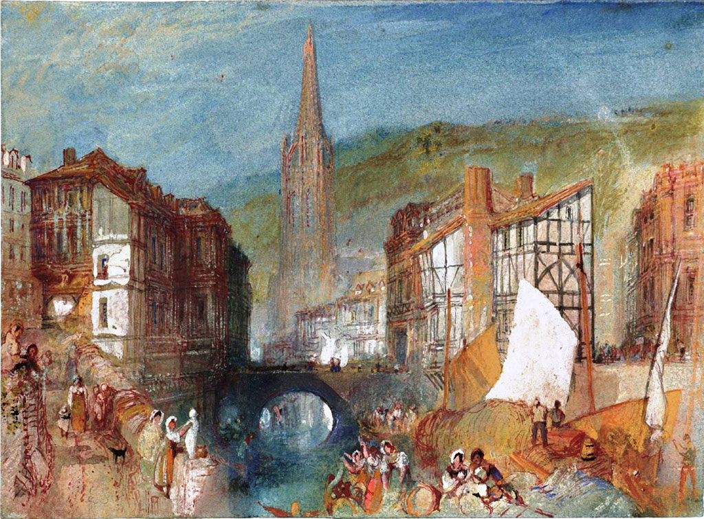 William Turner 1832 - Harfleur, The Church of St Martin Seen from the Banks of the River Lezarde