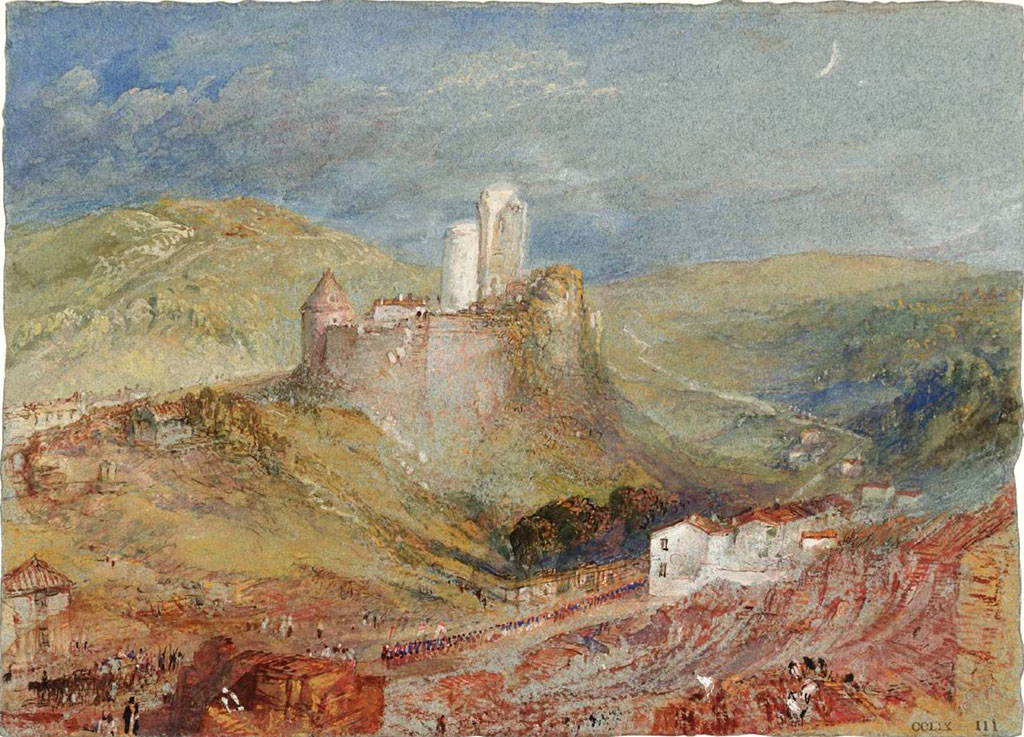 William Turner 1832 - Lillebonne, The Chateau from above the Roman Amphitheatre