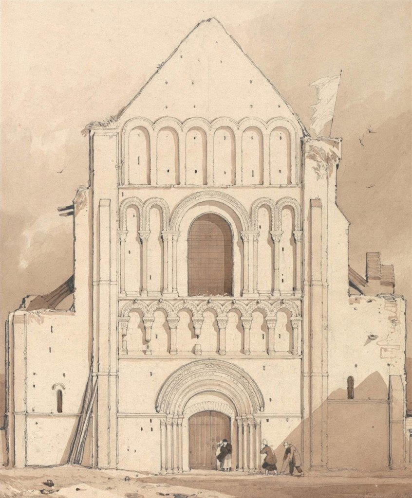 John Cotman 1820 - West-Front-of-the-Church of Oyestraham [Ouistreham], near Caen, Normandy