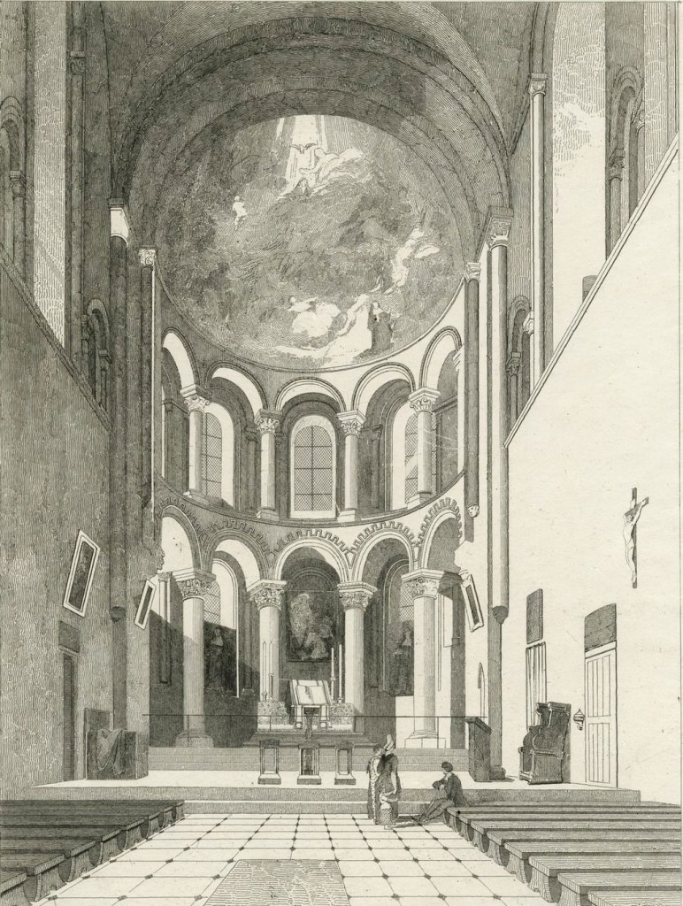 John Cotman 1822 - Abbey Church of the Holy Trinity, Caen East end Interior