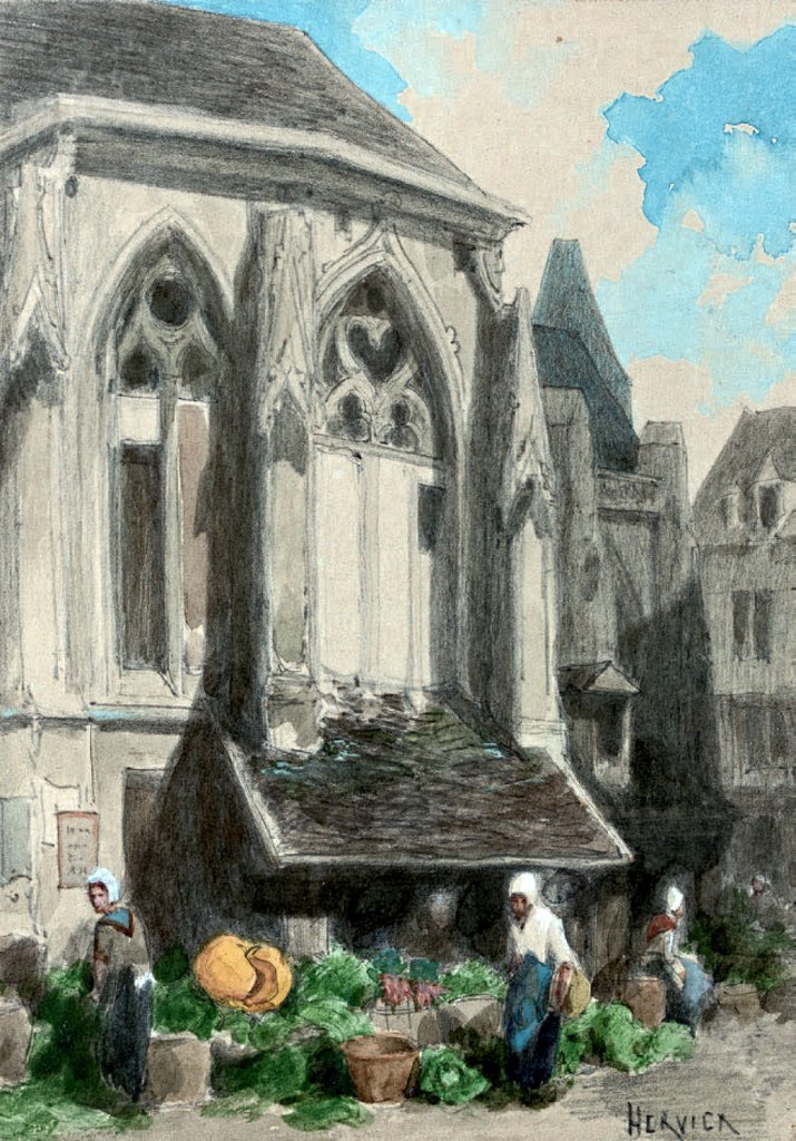 ???? - Louis Hervier  - Market in front of the Saint Sauveur church in Caen