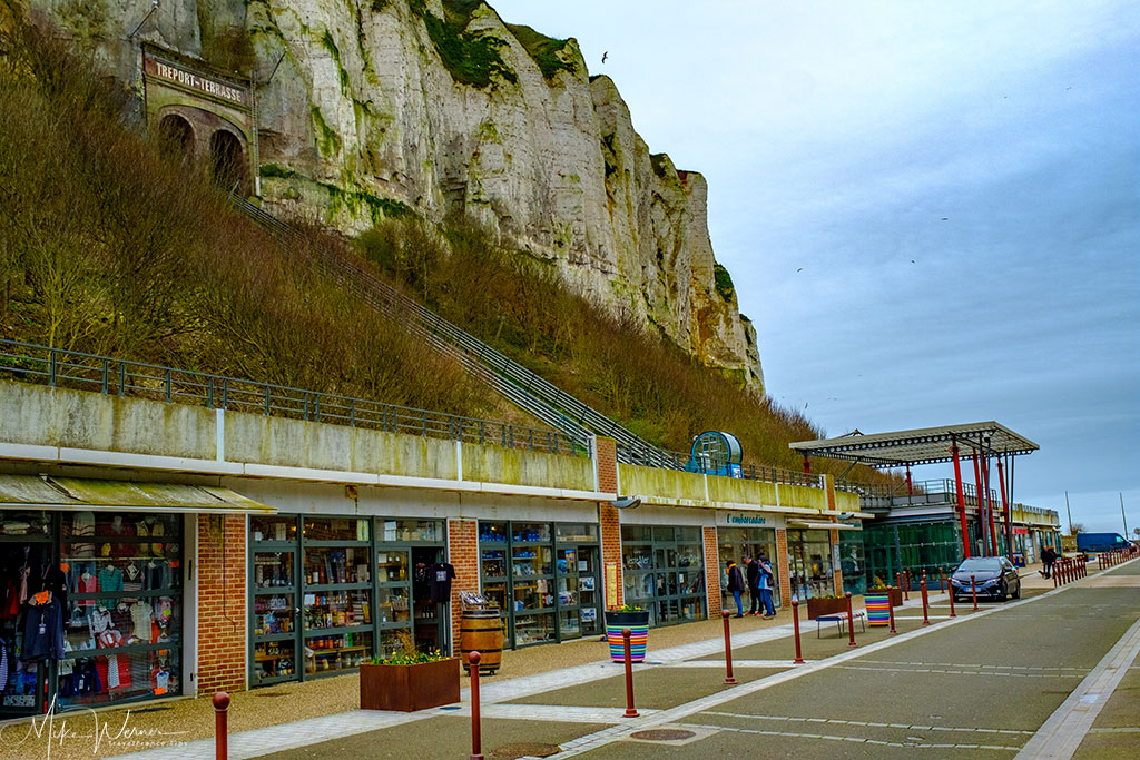 Shops alongside the funicular station in Le Treport
