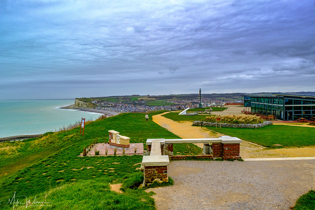 View from the remains of hotel Trianon over the platform on top of the cliffs of Le Treport
