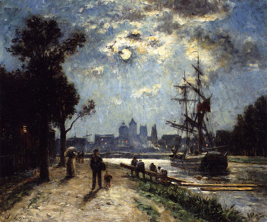1872 Stanislas Lepine - Caen, along the Orne river painted at the Cours Caffarelli, Moonlight