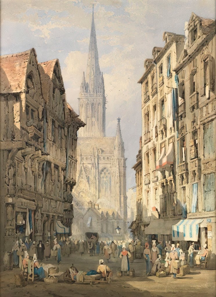 1826 Samuel Prout - The church of St-Pierre, Caen