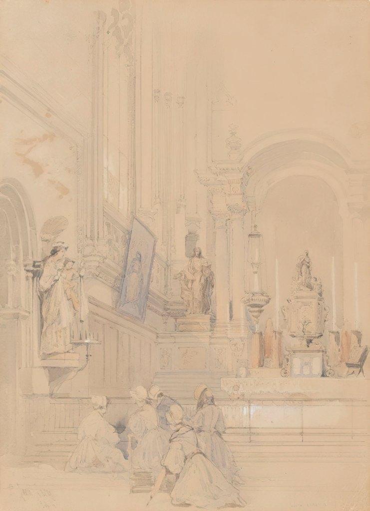 David Roberts 1824 - View of the choir of Saint-Jean church, Caen