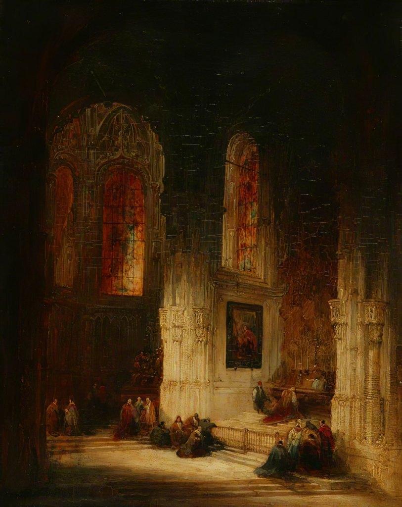 David Roberts 1830 - The Lady Chapel, Church of St-Pierre, Caen