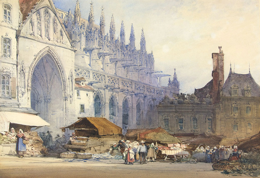 1862 William Callow - Place St-Pierre,-Caen