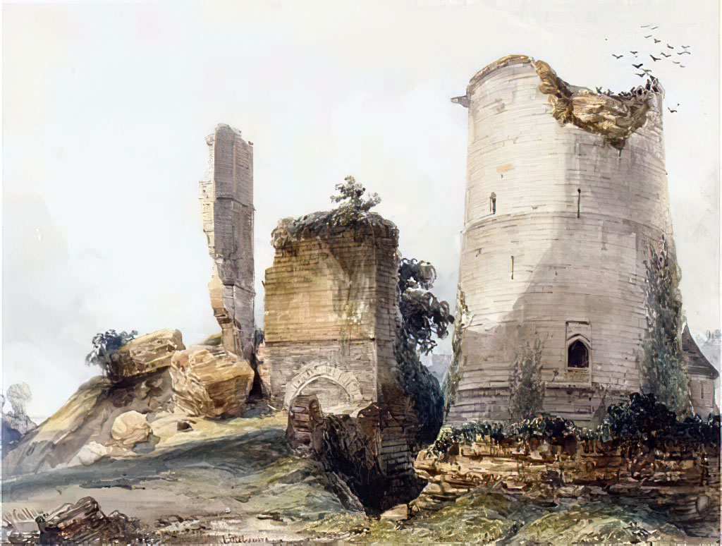 ???? William Callow - A ruined tower at Lillebonne