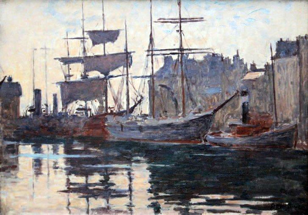???? - George Binet - Boats in the port of Le Havre