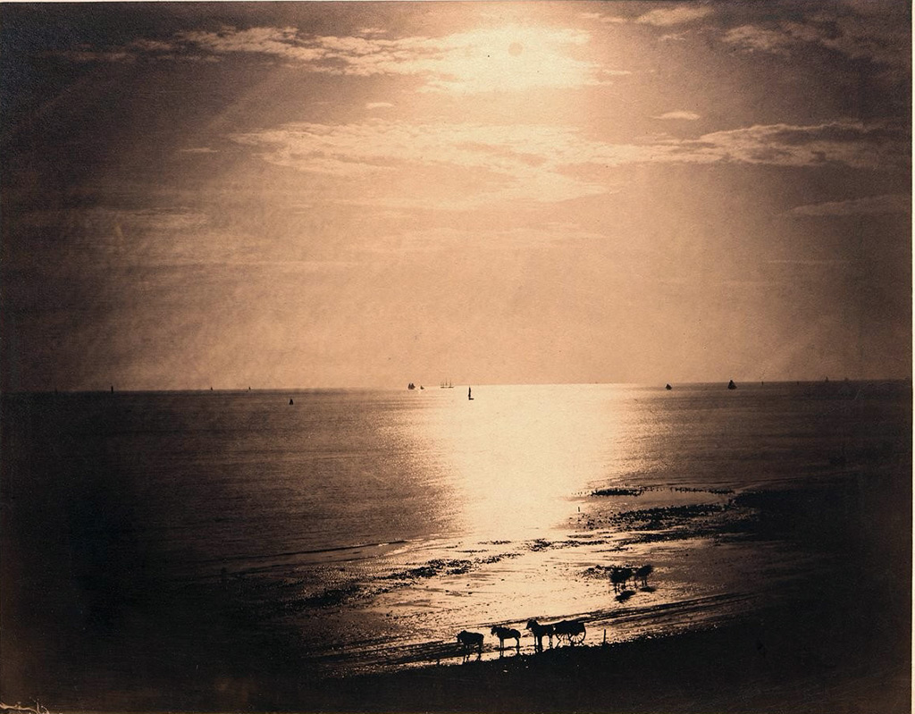 1856 - Le Gray - The sun at the zenith, Ocean No.22, Normandy, view from the small harbor of Le Havre