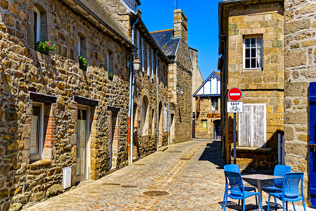 Street and houses in Paimpol, Brittany