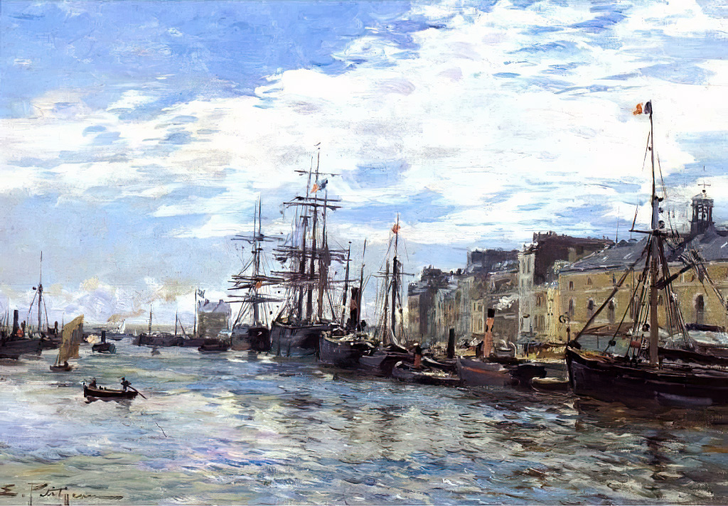 ???? - Edmond Marie Petitjean - The Bassin du Roi at Le Havre