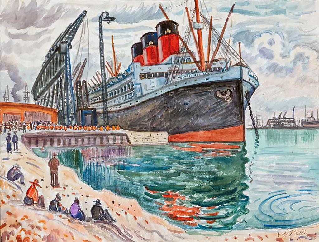 ???? Henri de Saint-Delis - The Normandie at the dock of Le Havre