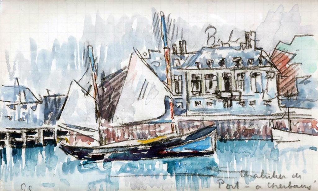 ???? - Paul Signac - Cherbourg, trawler at the port