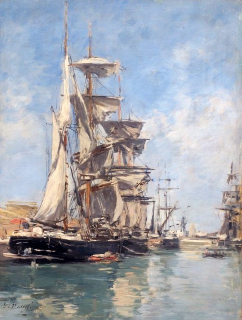 1885 - Eugene-Louis Boudin - Deauville Basin, Sailboats at the Wharf