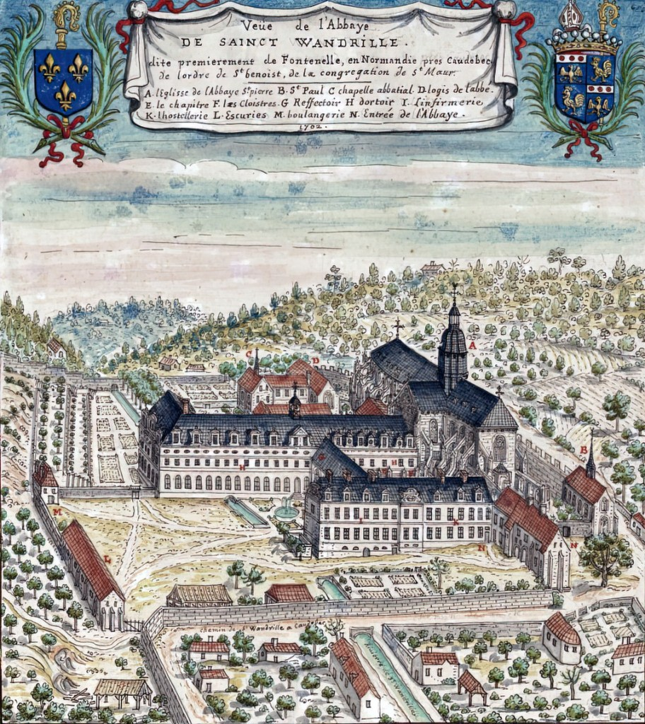 1702 - Louis Boudan - View of the Abbey of Saint Wandrille, initially known as Fontenelle, in Normandy near Caudebec of the order of St Benoist, of the congregation of St Maur