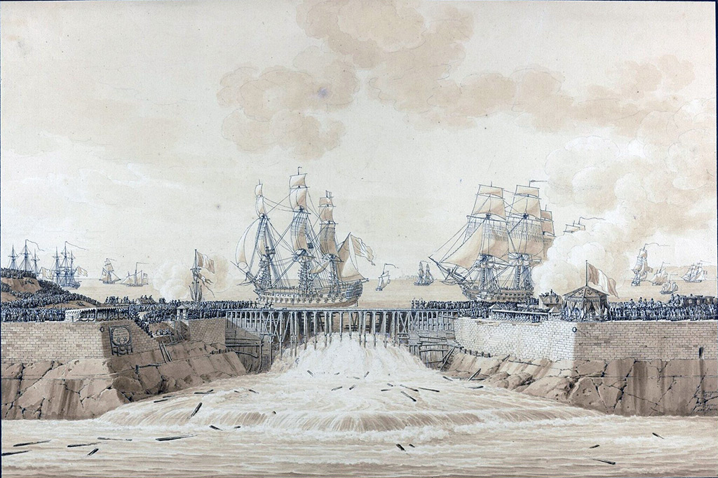 1814 - Constant Bourgeois - Immersion of the outer port of Cherbourg in the presence of the Empress Marie Louise, August 27, 1813