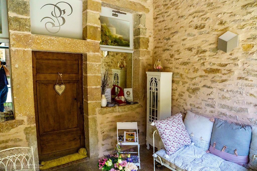 Reception/lounge area of the Balleure hotel castle