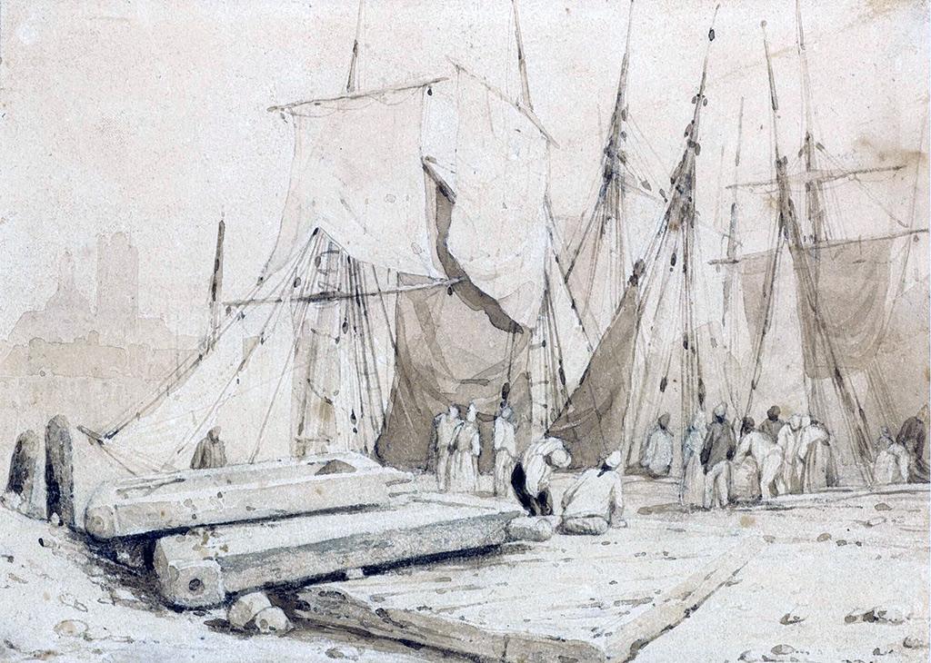 ???? Richard Parkes Bonington - Boats and Fishermen on the Shore, Dieppe