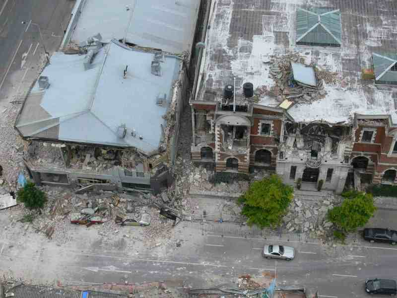 Central City - Aerial (2 Hrs Post Quake) - Manchester St - Worcester St - Iconic, The Civic. Feb 22, 2011.